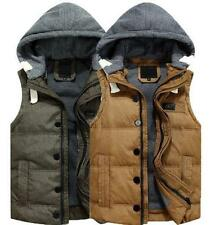 Mens Winter padded Zip Hooded Thicken vest Puffer Cotton waistcoat Jackets New Y