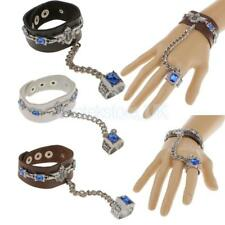 Cool Fashion Punk Leather Rivet Finger Ring Bracelet Wristband w/ Chain 3 color
