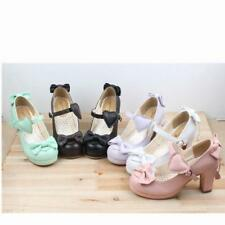 Sweet Girl Lolita Womens Mary Jane bowknot Pricess Ankle Strap Block Heel Shoes