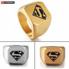 Vintage Gold DC Superman Hero Mens Ring Jewelry Stainless Steel Band Size 8-12