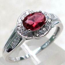 ALLURING 1 CT RUBY 925 STERLING SILVER MICRO PAVE RING SIZE 5-10