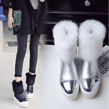 New Womens Sweet Fur trim Winter Snow ankle Boots Girl's Wedge Warm flat Shoes