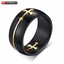 Black Gold Cross Stainless Steel Mens Ring Jewelry Gothic Punk Band Size 8-12