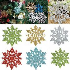 12x Glitter Snowflake Christmas Ornaments Xmas Tree Hanging Decoration Decor