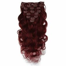 "8pcs 120g 18""-24"" Body Wave Clip In 100% Remy Human Hair Extensions Wine red"