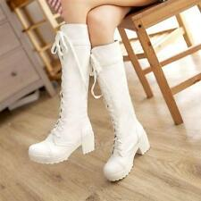 Women lady Calf High Combat Boots Block Med Heel Lace Up Goth Punk Military Boot