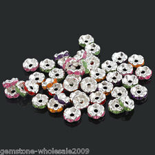 Wholesale Lots Mixed Silver Plated Rhinestone Rondelle Spacer Beads 8x4mm