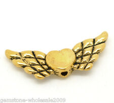 Wholesale Lots Gold Tone Heart Wings Charms Beads 22x9mm