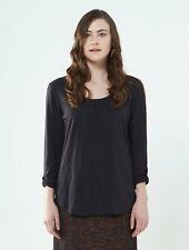 *SALE*   NOMADS Organic Cotton Charcoal Grey Plain Longsleeve Fitted Top PT45