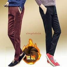 Men's Slim Fit Skinny Casual Winter Warm Corduroy Lined Pants Trousers Size 38