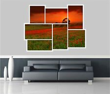 Huge Collage View Red Evening On The Meadow Wall Sticker Wallpaper S15