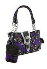 Purple Camo Forest Camouflage Rhinestone Buckle Concealed Carry Handbag