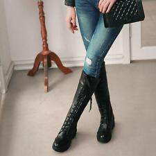 Fashion Womens Winter Riding Lace Up Wedge Heel  Knee High Boots high top shoes