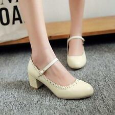 Stylish Womens lady Round Toe Block Mid Heels mary jane Ankle Strap Pumps Shoes