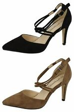 Ladies Anne Michelle Pointed Toe Microfiber Court Shoes F10551