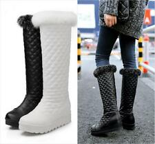 Womens Fur Trim lined knee high boots pull on Warm Winter snow Shoes wedge heel