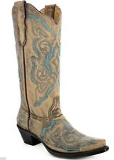 """Corral Ladies 13"""" Snip Toe Leather Cowboy Western Boots Turquoise Brown E1002"""