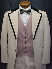 VINTAGE TAN BROCADE BLACK VELVET MENS BOYS TUXEDO JACKET or 4pc TUX RETRO