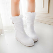 Womens Platform wedge heel Trend Winter Snow Mid Calf Boots Fur Lined Warm Shoes