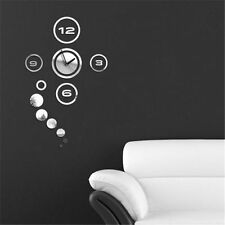 Home Decor Living Room Removable Mirror DIY Wall Clock House 3D Stickers