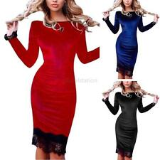 Sexy Women's Long Sleeve Velvet Bodycon Evening Party Cocktail Lace Mini Dress