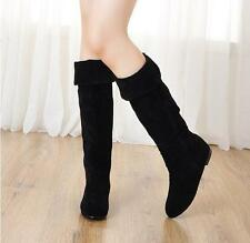 Euro Womens Faux Suede Round Toe Flat wedge Heels Pull On Knee High Boots Size