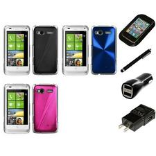 For HTC Radar 4G / Omega Aluminum Armor Cosmo Slim Hard Case Cover Charger