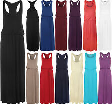 New Ladies Elasticated Racer Back Maxi Long Dress Stretch Sleeveless Womens 8-14