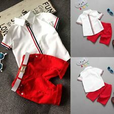 2Pcs Toddler Kid Baby Boys Gentleman Short Sleeve T Shirt Top + Shorts Outfits