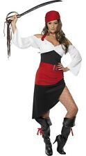 Ladies Sexy Red/Black Pirate Wench Hen Do Fancy Dress Costume Outfit UK 8-18