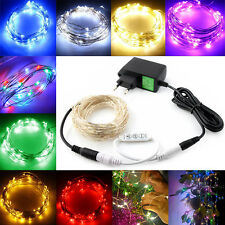 10m 100 LEDs Silver Wire String Fairy Party Wedding Light Controller+EU Adapter