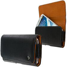 Luxmo Black Tan Premium PU Leather Belt Clip Holster Pouch Clip Case For Phones