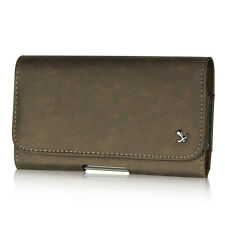 Luxmo Brown Flip Premium PU Leather Belt Clip Holster Pouch Clip Case For Phones