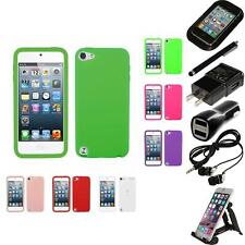 For Apple iPod Touch 5th 6th Gen Silicone Skin Rubber Soft Case Cover Bundle