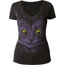 Alice's Adventures In Wonderland Mad Cat Juniors V-Neck T-Shirt Tee