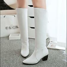 Womens lady Knight knee high boots pointy toe zip up mid heels shoes US4-11