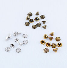 Brass Bronze Silver Retro Bead Caps Flower End Bead Jewelry Find 8.5x5mm 3 Color