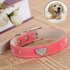 New Soft Velvet Leather Dog Collar Lovely Crystal Heart Charm Small Pet Supplies