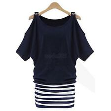 Women Sexy Striped Bodycon Off Shoulder Casual Dresses Mini Dress Summer Dress