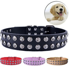 Two Tows Rhinestones Dog Collar Large Pets Pu Leather Collar Adjustable Buckle