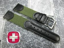 Wenger Swiss Black Leather Army Green Nylon Strap Watch Band 20 19 mm Large Long
