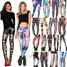 Fashion Womens Stretchy Colorful 3D Print Leggings Jeggings Pencil Tight Pants