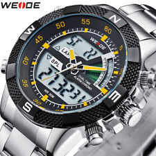 WEIDE Men's Sport Watch LCD Day Date Alarm Stainless Steel Quartz Wristwatches