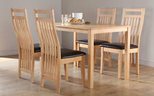 Milton & Bali Oak Dining Table and 4 6 Leather Chairs Set (Brown)