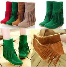 Retro Womens Girl Ankle Tassel Boots Faux Suede Fringe Moccasin PUll On Boots sz