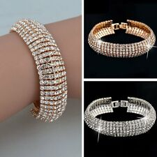 Valentine's Day Charm Women Crystal Rhinestone Cuff Bracelet Bangle Jewelry Gift