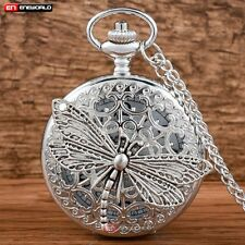 Steampunk Dragonfly Silver Pocket Watch Quartz Necklace Chain Special Gift Retro