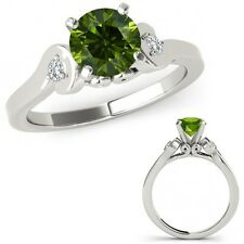 1 Carat Green Diamond Solitaire Engagement Promise Ring Band Set 14K White Gold