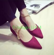 Women Flats Loafers Korea Pointed Toe Ballet Ankle Chain Strap Shoes New Hot YT