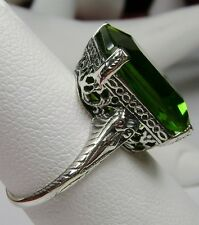 10ct *Peridot* Sterling Silver Victorian Etch Filigree Ring Size (Made To Order)
